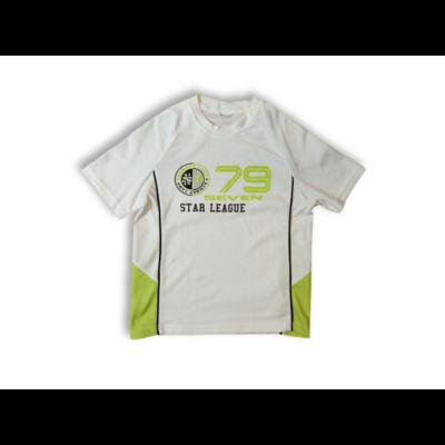 146-152-es fehér mez anyagú feliratos póló