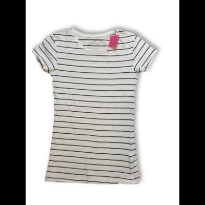 158-164-es fehér-fekete csíkos póló - Primark