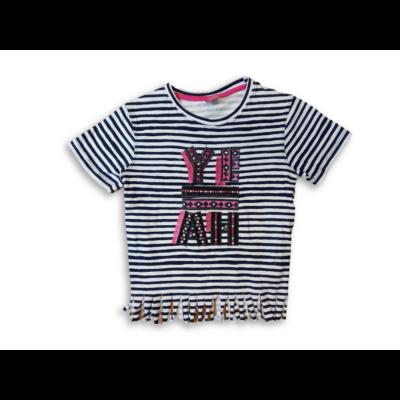 128-as kék-fehér csíkos rojtos póló - Y.F.K - ÚJ