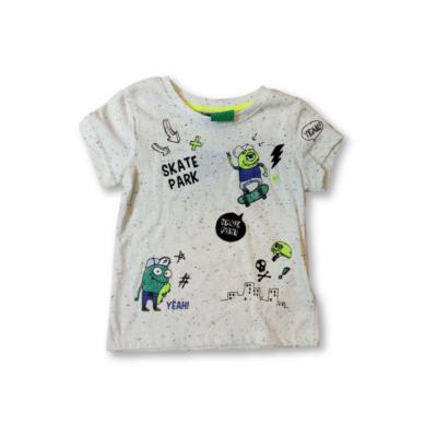 92-es törtfehér deszkázó szörnyecskés póló - Kiki & Koko - ÚJ