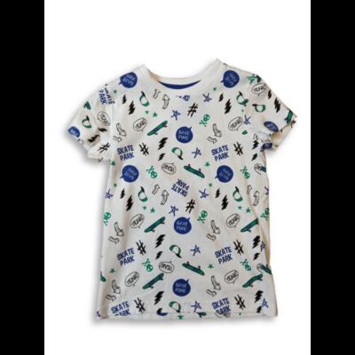 92-es fehér alapon kék mintás fiú póló - Kiki & Koko - ÚJ