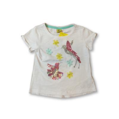 98-as fehér flitteres kolibris póló - Kiki & Koko - ÚJ