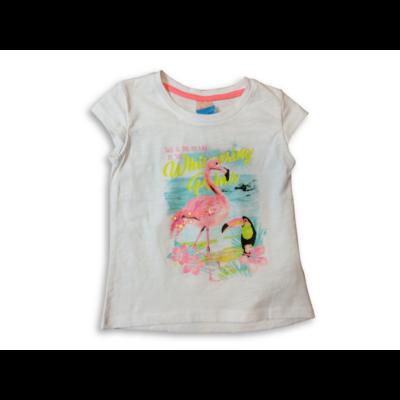 92-es fehér flamingós póló - Kiki & Koko - ÚJ