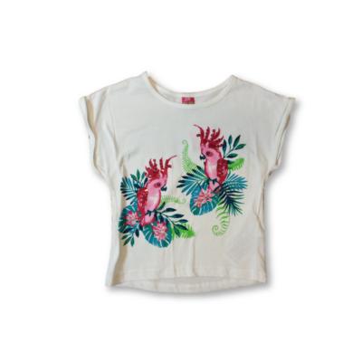 92-es fehér papagájos, flitteres póló - Kiki & Koko - ÚJ