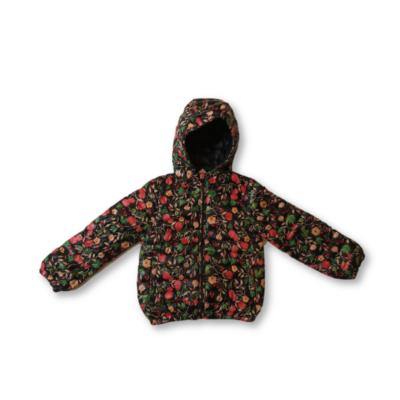 110-es fekete virágos vastagabb átmeneti kabát - Reserved