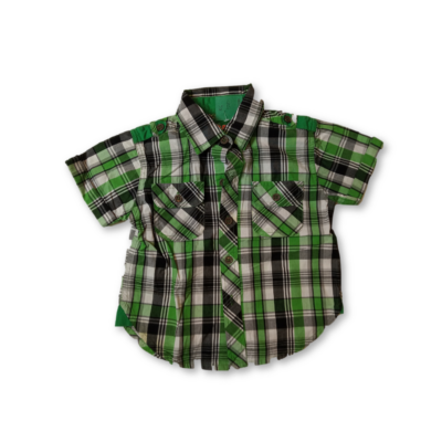 86-os zöld kockás rövidujjú ing - Pink Sun Fashion