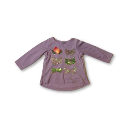 110-es lila flitteres masnis pamutfelső - Kiki & Koko - ÚJ