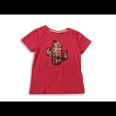 104-es piros kaktuszos átfordítható flitteres póló - Kiki & Koko - ÚJ