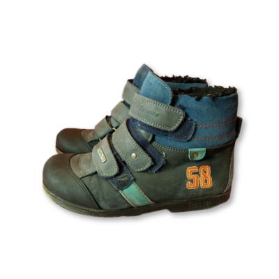 34-es kék szőrmével bélelt bőrcipő - Szamos