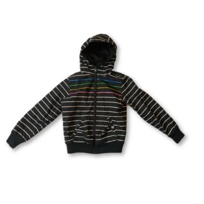 134-es fekete színes csíkos kifordítható lány kabát - Glo Story