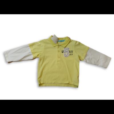 86-os sárga-fehér duplahatású piké pamutfelső - George - ÚJ