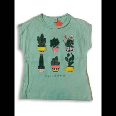 122-es zöld kaktuszos póló lánynak - Kiki & Koko - ÚJ