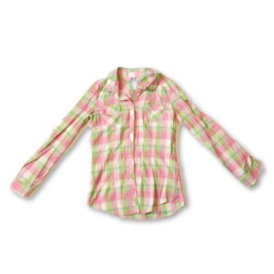 164-es rózsaszín-zöld kockás hosszú ujjú blúz - F&F