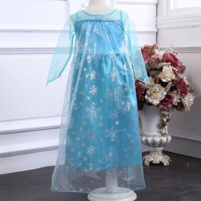 140-es kék jelmez, hercegnőruha - Frozen, Jégvarázs - ÚJ