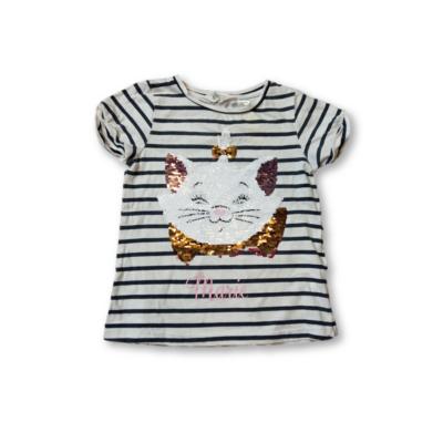 122-128-as fekete-fehér cicás átfordítható flitteres póló - H&M