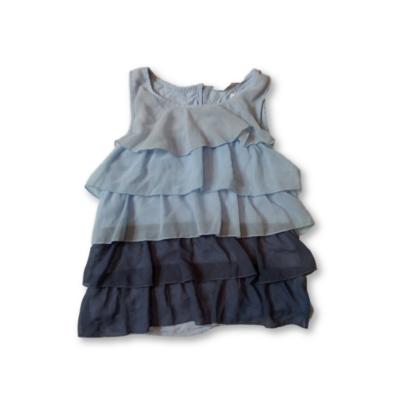 158-as kék-szürke fodros ujjatlan blúz - H&M