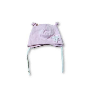 40-42 cm-es fejre rózsaszín pöttyös pamutsapka