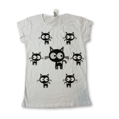Női L-es fehér cicás póló - Namso