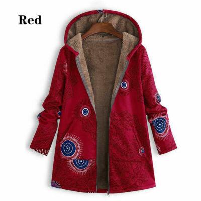 Női M-es piros szőrmével bélelt átmeneti kabát - ÚJ