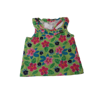 80-as virágos zöld ujjatlan póló - Early Days