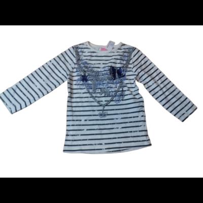 98-as fehér-kék csíkos nyakláncos pamutfelső - Dopodopo