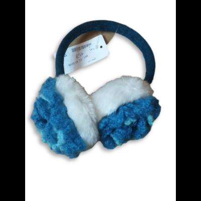Kék-fehér virágos fülvédő - ÚJ