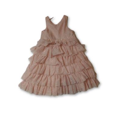 116-os rózsaszín-arany fodros tüllös alkalmi ruha - H&M