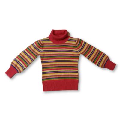 104-110-es színes csíkos vékony kötött garbónyakú lány pulóver - Marks & Spencer
