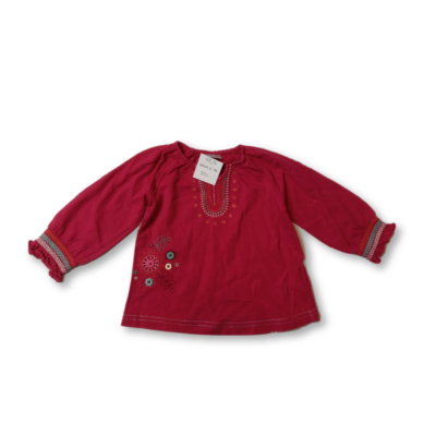 68-74-es pirosas hímzett pamutfelső - F&F