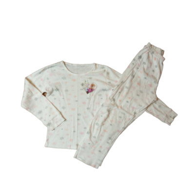 122-128-as fehér pizsama - Frozen, Jégvarázs