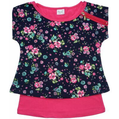 134-es fekete-pink virágos dupla póló - ÚJ