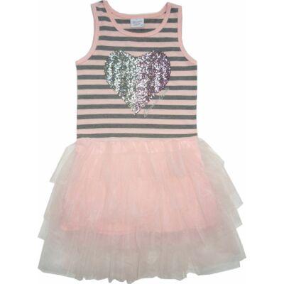 134-es rózsaszín-szürke csíkos tüllszoknyás ruha - ÚJ
