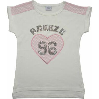 128-as fehér-rózsaszín szivecskés strasszköves póló - ÚJ