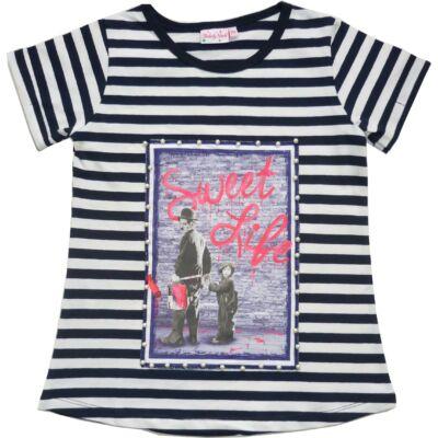 134-es fekete-fehér csíkos póló -  ÚJ