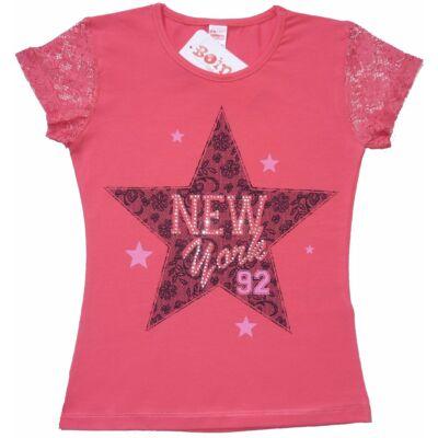 128-as rózsaszín csillagos póló - ÚJ