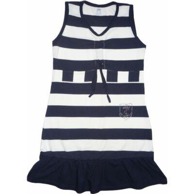140-es kék-fehér csíkos, strasszköves ruha - ÚJ