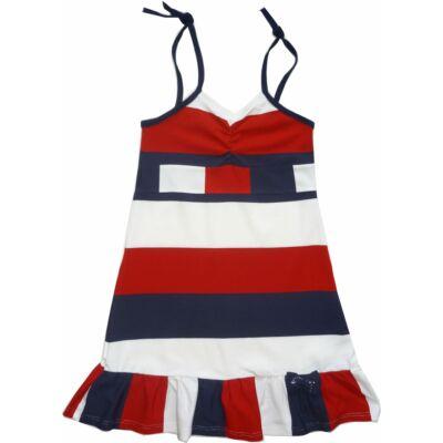 128-as piros-fehér-kék spagettipántos ruha - ÚJ