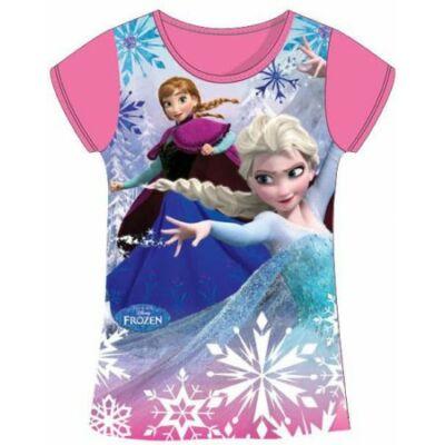 122-es rózsaszín lány póló - Frozen, Jégvarázs - ÚJ